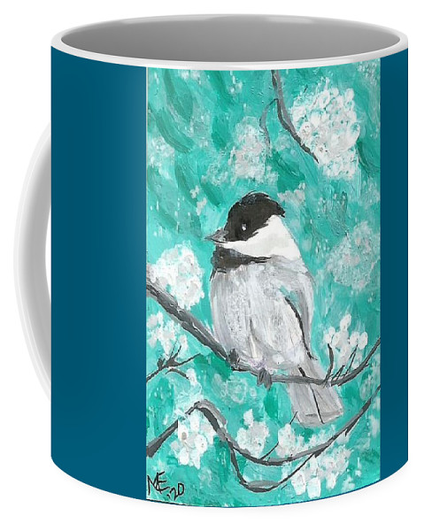 Chickadee Painting Coffee Mug featuring the painting Chickadee by Monica Resinger