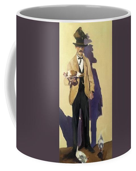 Chicken Man Coffee Mug featuring the painting Chicken Man by Chris Gholson