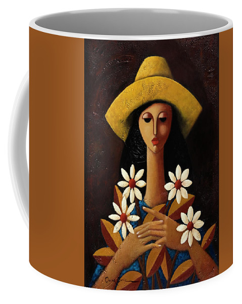 Puerto Rico Coffee Mug featuring the painting Cinco Margaritas by Oscar Ortiz