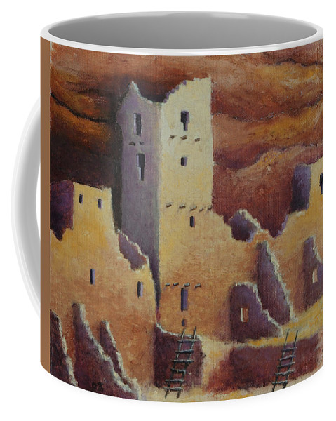 Anasazi Coffee Mug featuring the painting Cliff Pallace by Jerry McElroy