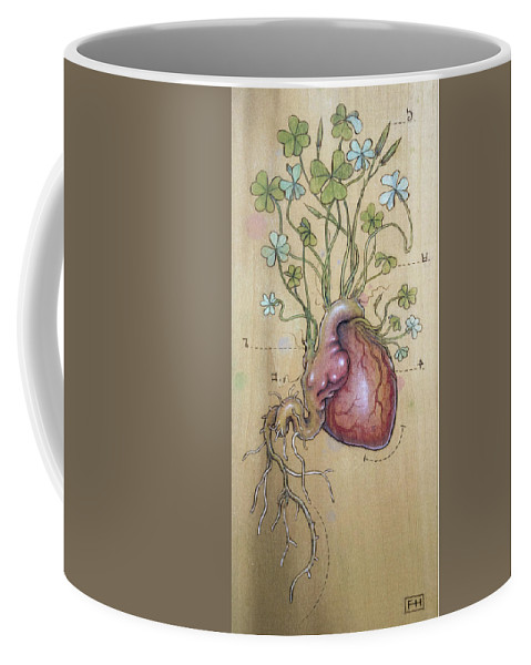 Clover Coffee Mug featuring the pyrography Clover Heart by Fay Helfer