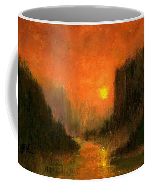 Miniatures Oil Paintings Coffee Mug featuring the painting Columbia Gorge Nocturn by Jim Gola