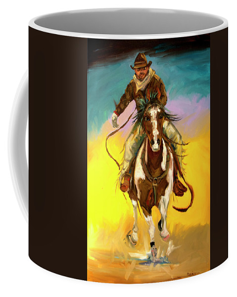 Cowboy Coffee Mug featuring the painting Coming at You by Diane Whitehead