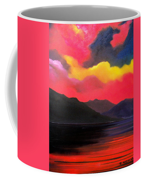 Surreal Coffee Mug featuring the painting Crimson clouds by Sergey Bezhinets