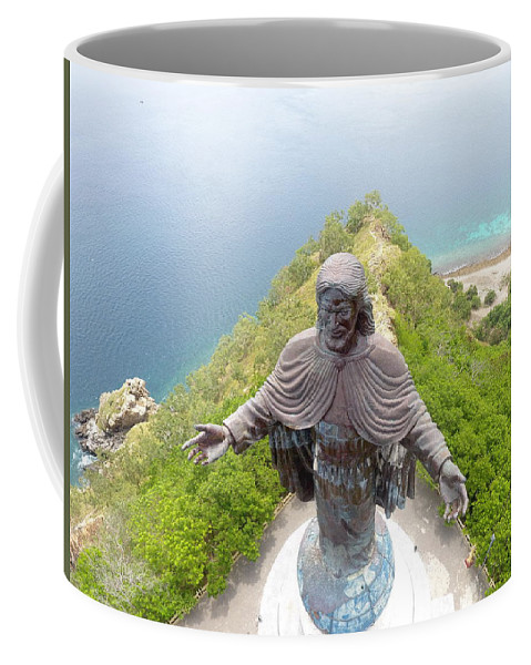 Adventure Coffee Mug featuring the photograph Cristo Rei of Dili statue of Jesus by Brthrjhn2099