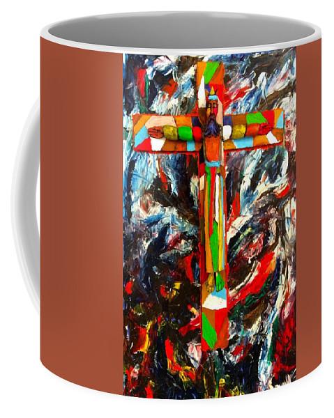 Crucifixion Coffee Mug featuring the mixed media Crucifixion by Biagio Civale