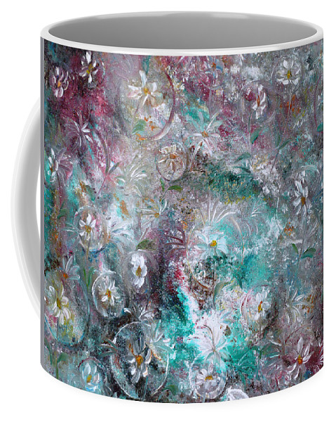 Original Flower Abstract Painting Coffee Mug featuring the painting Daisy Dreamz by Karin Dawn Kelshall- Best