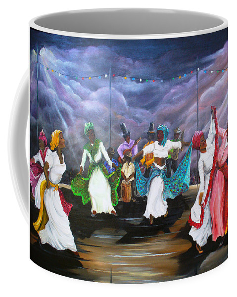 Caribbean Painting Original Painting Folklore Dance Painting Trinidad And Tobago Painting Dance Painting Tropical Painting Coffee Mug featuring the painting Dance The Pique by Karin Dawn Kelshall- Best