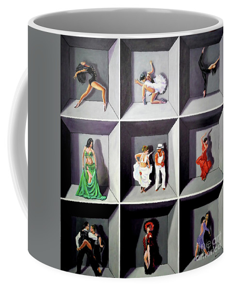Dancing Coffee Mug featuring the painting Dancers by Jose Manuel Abraham