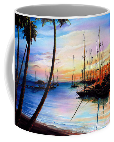 Ocean Painting Seascape Yacht Painting Sailboat Painting Sunset Painting Tropical Painting Caribbean Painting Yacht Painting At The End Of A Yachting Regatta At Pigeon Point Tobago Painting Coffee Mug featuring the painting DAYS END Yachting Regatta At Pigeon Point Tobago by Karin Dawn Kelshall- Best