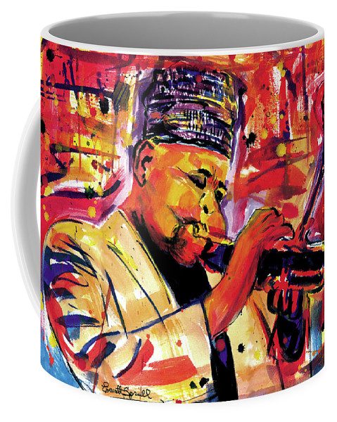 African Mask Coffee Mug featuring the painting Dizzy Gillespie by Everett Spruill