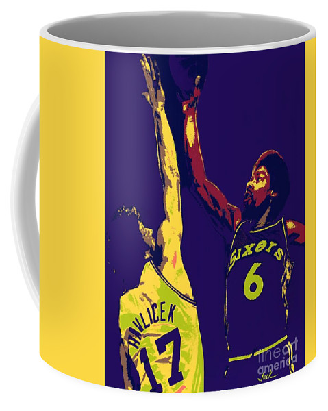 Dr J Coffee Mug featuring the painting Dr J vs John Havlicek by Jack Bunds