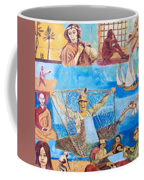 Fisherman With Net And Dreams And Thoughts About His Life Coffee Mug featuring the painting Dream of fisherman by Biagio Civale
