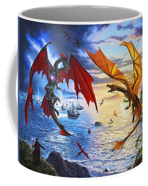 Dragon Coffee Mug featuring the painting Duel of the Dragon Wizards by Stu Shepherd