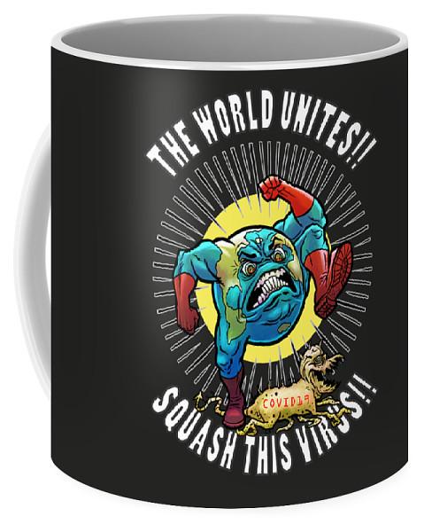 Earth Vs Virus Coffee Mug featuring the digital art Earth vs Virus by Jonathan Buhl
