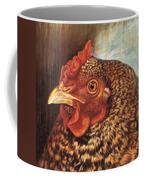 Chicken Coffee Mug featuring the painting Eleanor3 by Hans Droog