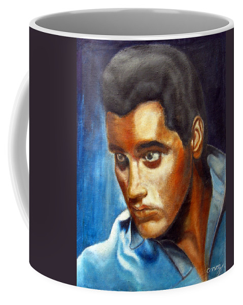 Elvis Coffee Mug featuring the painting Elvis Presley - moody blue by Tom Conway