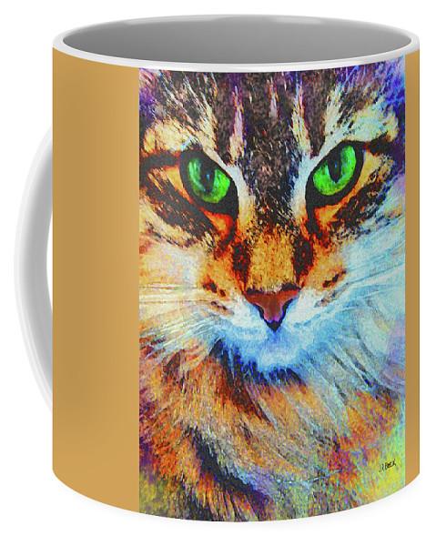 Emerald Gaze Coffee Mug featuring the digital art Emerald Gaze by John Robert Beck