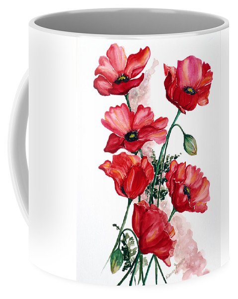 Original Watercolor Of English Field Poppies Painted On Arches Watercolor Paper Coffee Mug featuring the painting English Field Poppies. by Karin Dawn Kelshall- Best