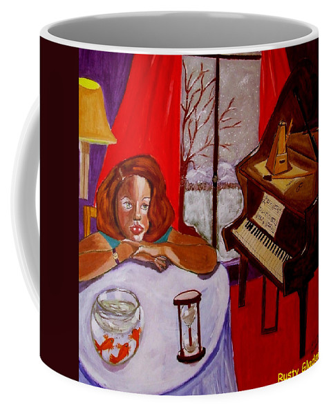 Hourglass Coffee Mug featuring the painting Entropiano by Rusty Gladdish