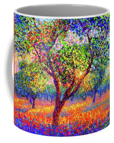 Floral Coffee Mug featuring the painting Evening Poppies by Jane Small