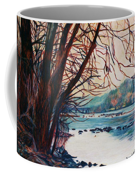 New River Coffee Mug featuring the pastel Fall on the New River by Kendall Kessler