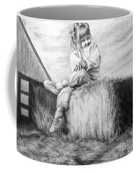 Farm Coffee Mug featuring the drawing Farm Girl by Arthur Fix