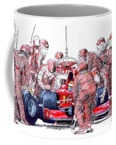 Ferrari Coffee Mug featuring the drawing Ferrari a boxes, pits, Original handmade drawing by Drawspots Illustrations