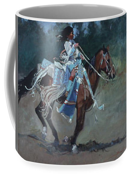 Native American Coffee Mug featuring the painting Foot Loose by Betty Jean Billups