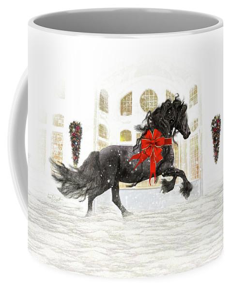 Friesian Coffee Mug featuring the digital art Friesian Christmas by Fran J Scott