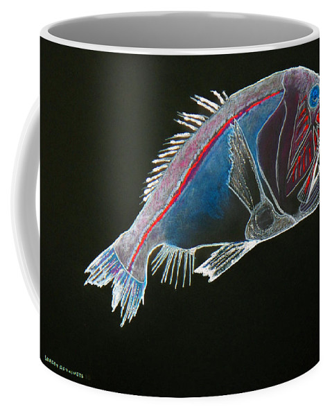Fossil Coffee Mug featuring the drawing From The Abyss by Sergey Bezhinets