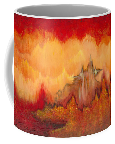 Red Coffee Mug featuring the painting From the Valley by Shadia Derbyshire