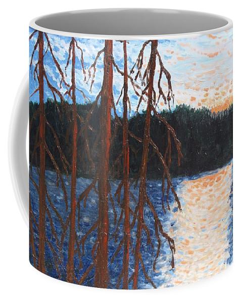 Setting Sun Coffee Mug featuring the painting Georgian Bay Ghosts by Ian MacDonald