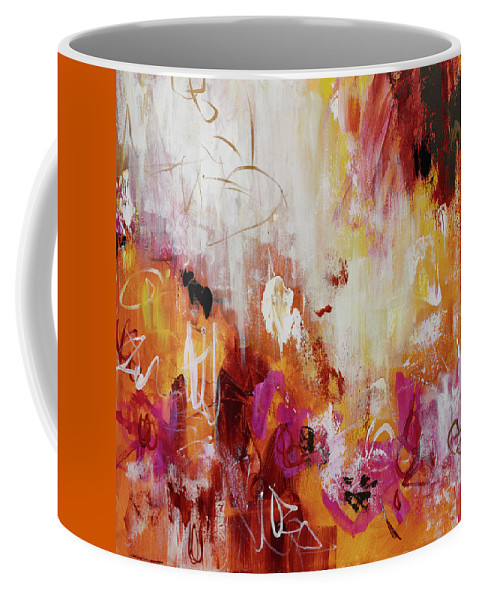 Acrylic Coffee Mug featuring the painting Golden Overture by Lynda Goldman