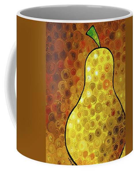Pear Coffee Mug featuring the painting Golden Pear by Sharon Cummings