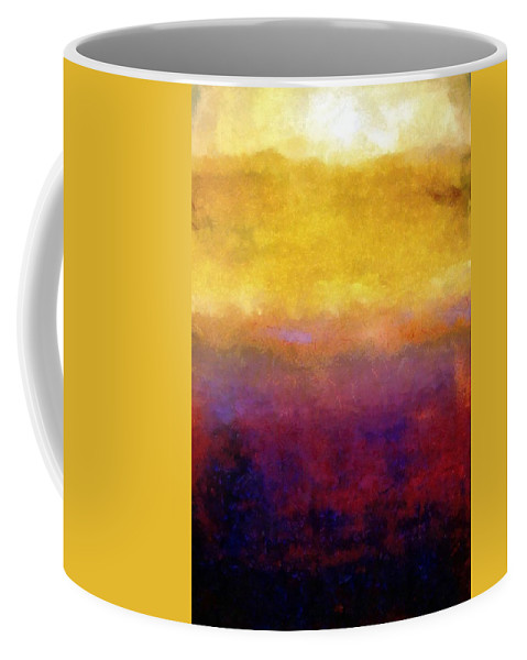 Abstract Coffee Mug featuring the painting Golden Sunset by Michelle Calkins