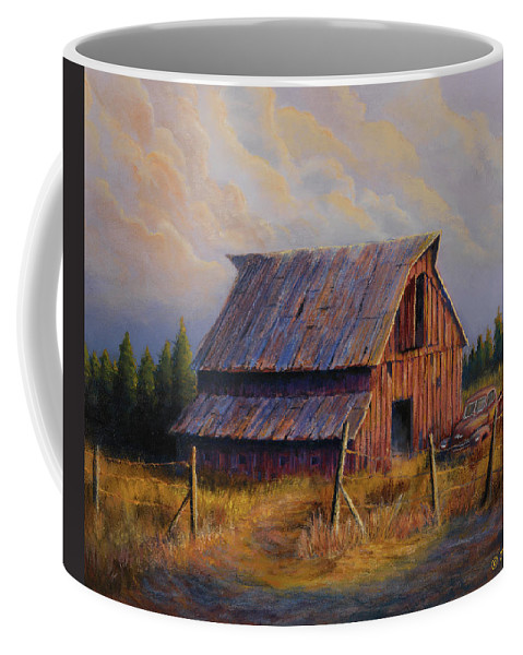 Barn Coffee Mug featuring the painting Grandpas Truck by Jerry McElroy