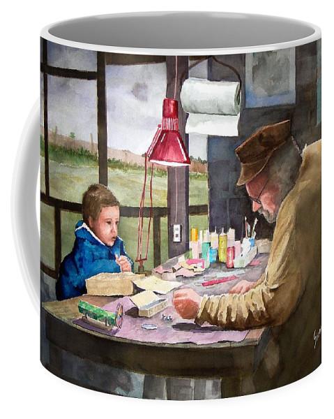 Man Coffee Mug featuring the painting Grandpa's Workbench by Sam Sidders