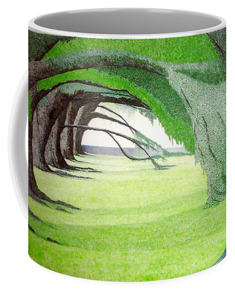 Group Bonsai Coffee Mug featuring the painting Grove Illusion by A Robert Malcom