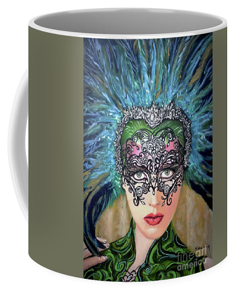 Party Coffee Mug featuring the painting Guess by Jose Manuel Abraham
