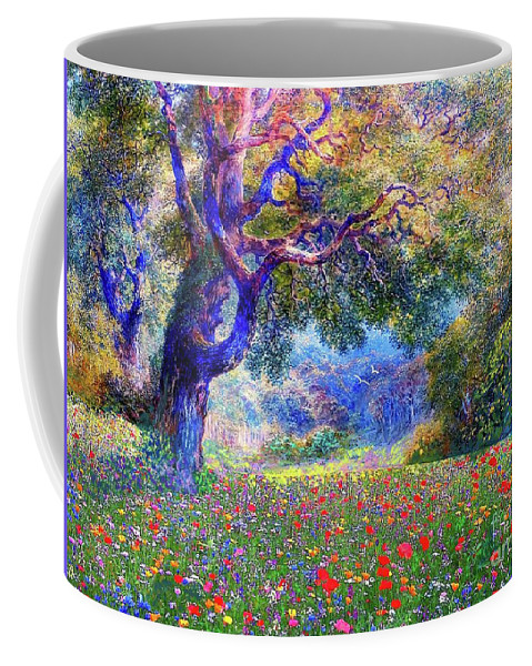 Landscape Coffee Mug featuring the painting Happiness Blooming by Jane Small