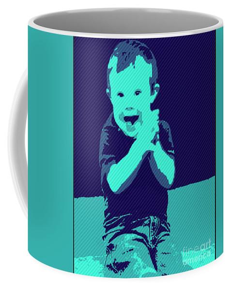 Pray Coffee Mug featuring the painting Happy Prayers by Jack Bunds
