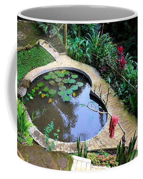 Heart Coffee Mug featuring the digital art Heart-shaped pond with water lilies by Worldvibes1