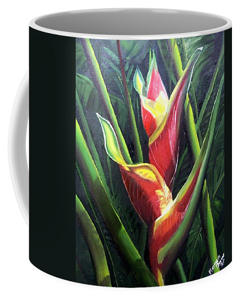 Tropical Floral Flower Heliconia Caribbean Painting Tropical Painting Botanical Painting Coffee Mug featuring the painting Heliconia by Karin Dawn Kelshall- Best