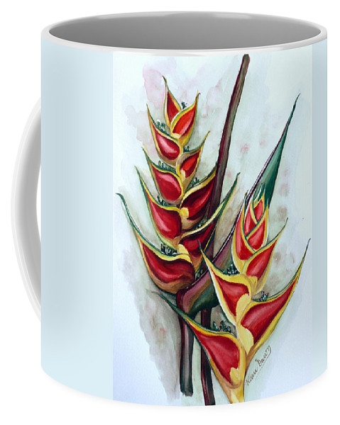Caribbean Painting Flower Painting Floral Painting Heliconia Painting Original Watercolor Painting Of Heliconia Bloom  Trinidad And Tobago Painting Botanical Painting Coffee Mug featuring the painting Heliconia Tropicana Trinidad by Karin Dawn Kelshall- Best