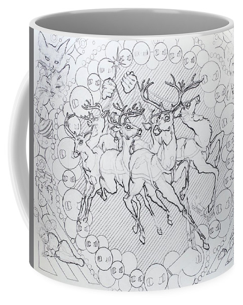Charcoal Pencil Coffee Mug featuring the drawing His Courses They Came by Sean Connolly
