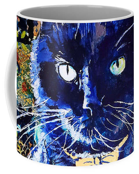 Cat Coffee Mug featuring the painting His Majesty by Goddess Rockstar