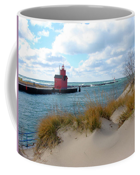 Lighthouse Coffee Mug featuring the photograph Holland Harbor Lighthouse - Big Red - Michigan by Michelle Calkins