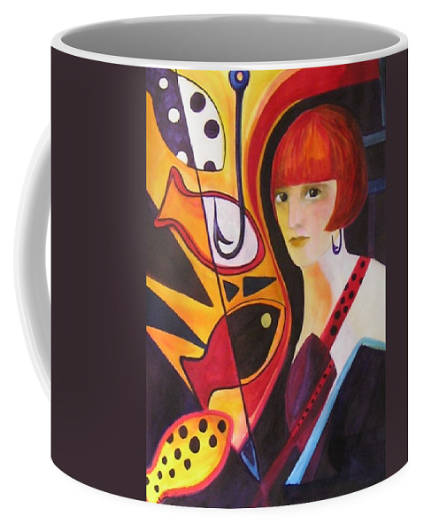 Woman Coffee Mug featuring the painting Hooked by Carolyn LeGrand