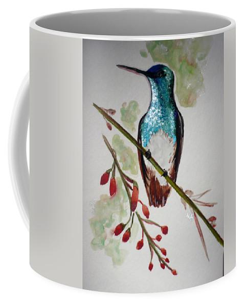 Hummingbird Painting Bird Painting Caribbean Painting Coffee Mug featuring the painting Hummingbird 3 by Karin Dawn Kelshall- Best